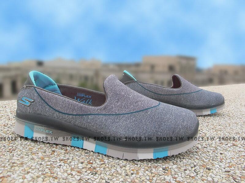 《下殺7折》Shoestw【81078LCCBL】SKECHERS 中童鞋 GoFlex 超軟Q底 灰藍 好穿脫 女生可以穿