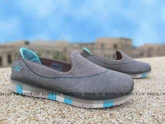 Shoestw【81078LCCBL】SKECHERS 中童鞋 GoFlex 超軟Q底 灰藍 好穿脫 女生可以穿
