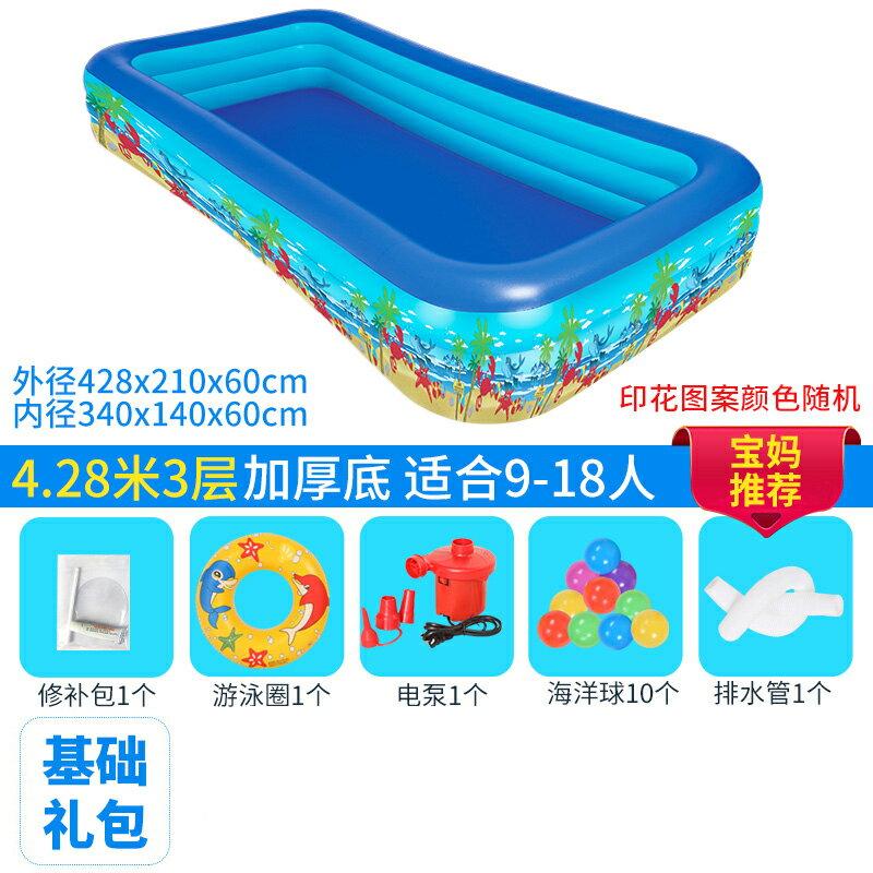 充氣泳池 兒童超大號水上樂園寶寶游泳池家用兒童充氣成人加厚家庭小孩水池『XY14613』