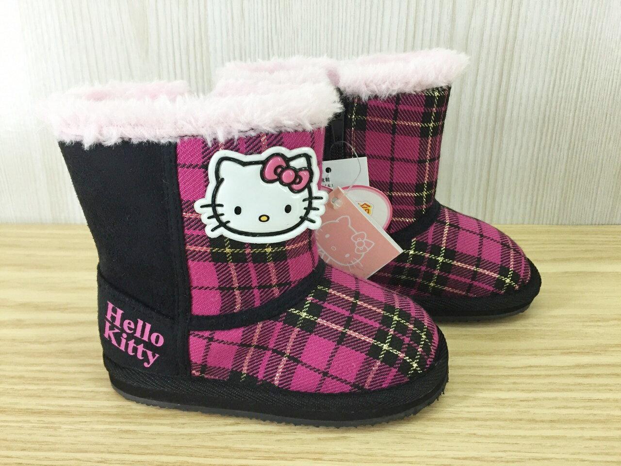 【真愛日本】兒童毛靴715143黑 14-19  三麗鷗 Hello Kitty 凱蒂貓 靴子 毛靴  童鞋  保暖