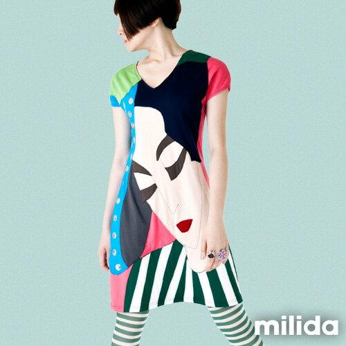 【Milida,全店七折免運】-夏季尾聲-拼貼款-古典人物插畫洋裝 5