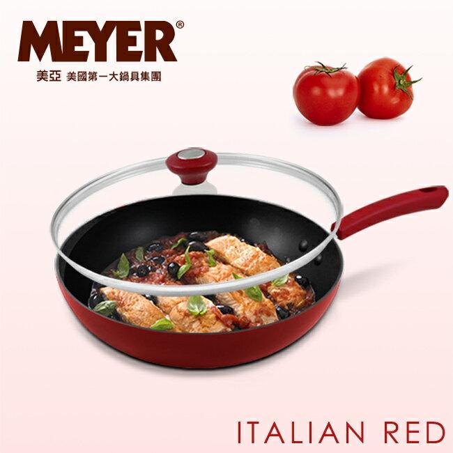 【MEYER】美國美亞義大利紅耐磨不沾單柄炒鍋30CM(含蓋) 12851_30