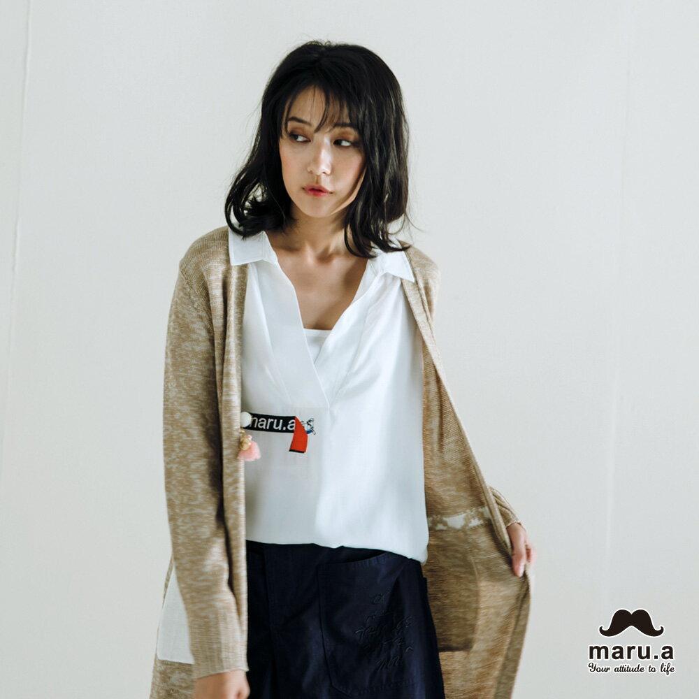 【maru.a】烏龜躲貓貓刺繡低領襯衫(2色)7923114 9