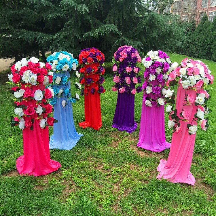 中式婚禮布置結婚花柱花拱門羅馬柱t臺裝飾道具路引婚慶新款2018 0