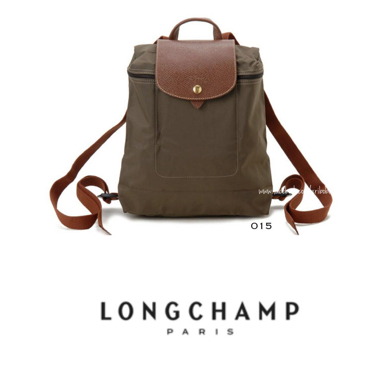 【LONGCHAMP】 LE PLIAGE 褐灰折疊後背包 0