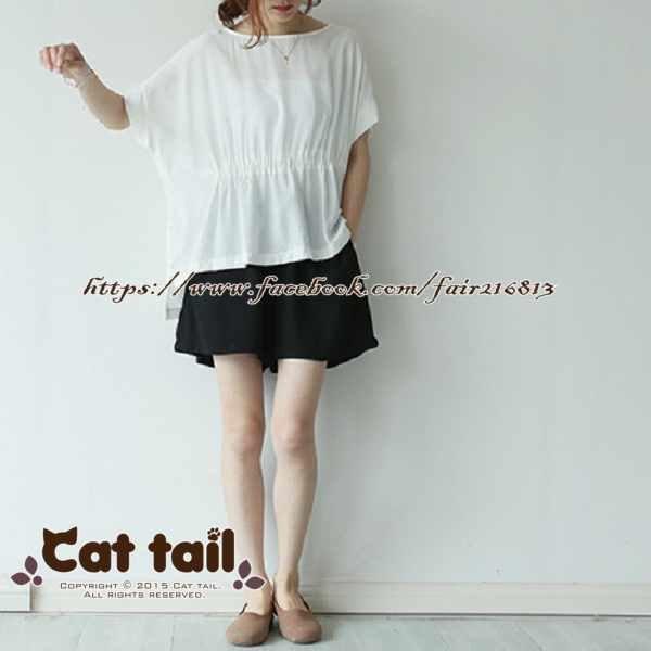 《貓尾巴》LZ-03170簡約圓領純色短袖上衣(森林系日系棉麻文青清新)