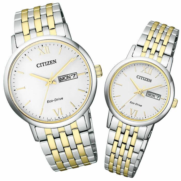 CITIZEN 星辰錶 ( BM9014-82A+EW3254-87A ) 簡約時尚日期星期光動能對錶  /  白面37+27mm - 限時優惠好康折扣