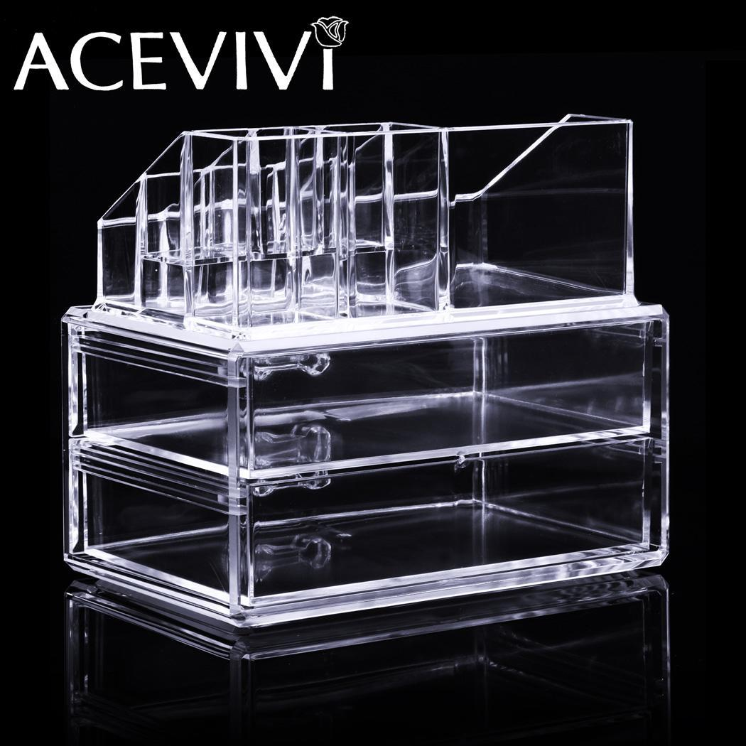 Acrylic Cosmetic Drawers Grids 2 Tiers Storage 0