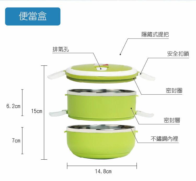304不銹鋼馬卡龍炫彩雙層保溫便當盒 (不銹鋼雙層便當盒+保溫便當袋+餐具組) 2