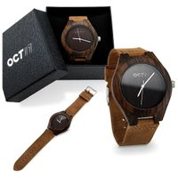 Oct17 Luxury Men's Wood Fashion Bamboo Wooden Watch Genuine Leather Japanese Quartz Wristwatches