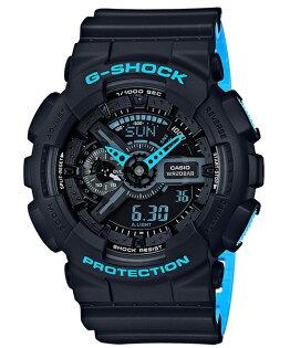 CASIOG-SHOCKGA-110LN-1A運運螢光配色流行時尚腕錶(黑藍)