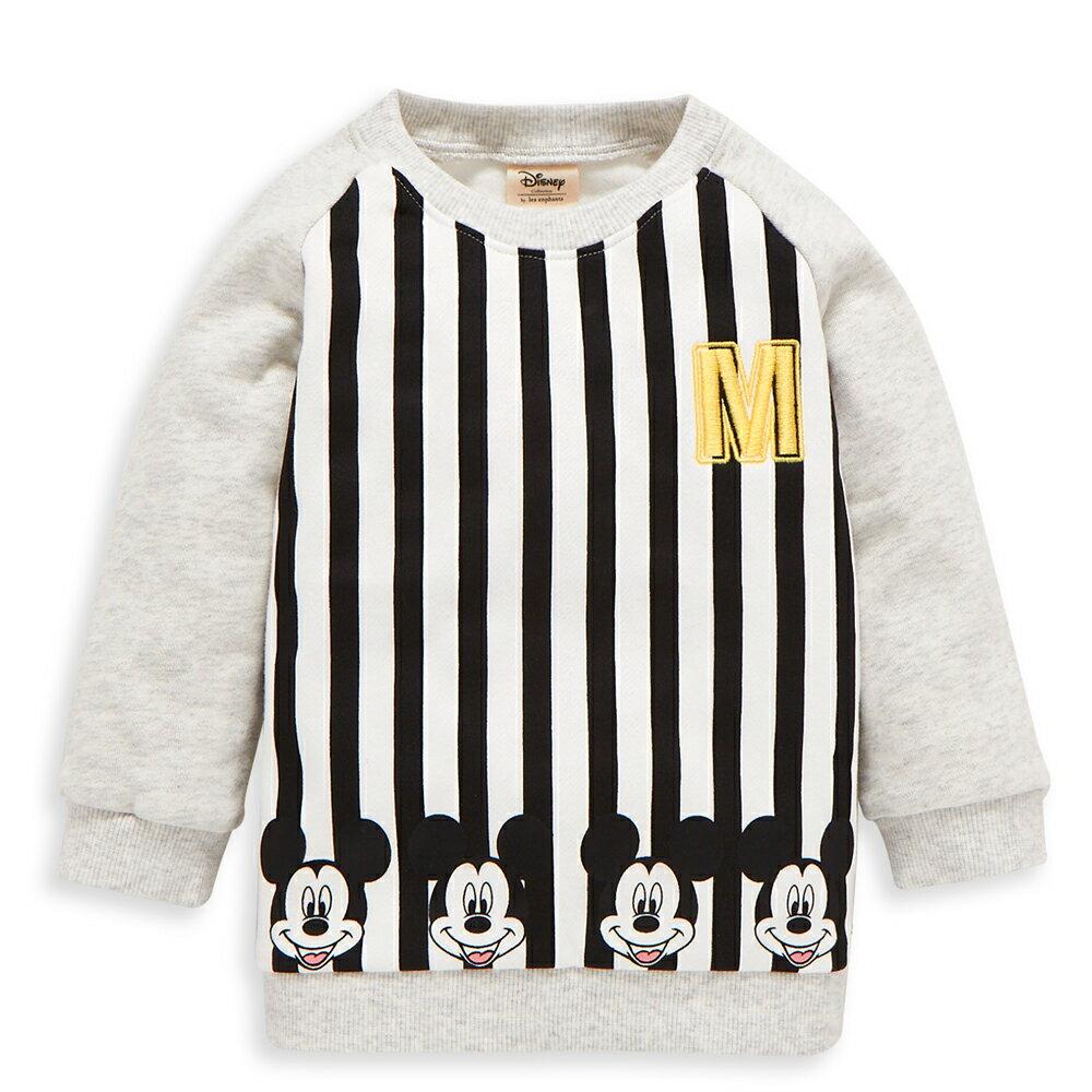 Disney baby 米奇系列條紋刷毛上衣-黑色