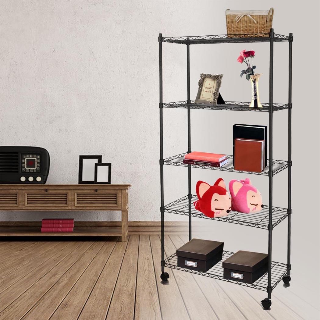 "5-Shelf Wire Shelving Rack Shelves with Wheels 14 x 29 x 61"" 0"
