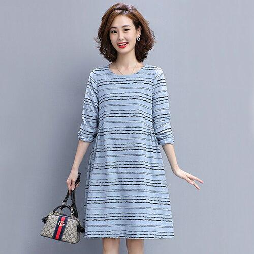 條紋寬鬆大碼棉麻連身裙(4色M~3XL)【OREAD】 0