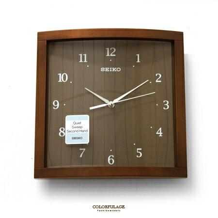 SEIKO精工掛鐘 日禪風 質感弧度鏡面木質深咖色方型滑動式秒針時鐘 柒彩年代【NG11】原廠公司貨 - 限時優惠好康折扣