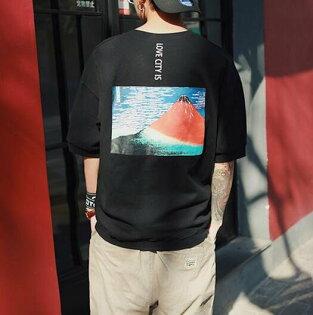 FINDSENSE服飾:FINDSENSE品牌男時尚潮流休閒寬鬆日系富士火焰山短袖T恤特色短T