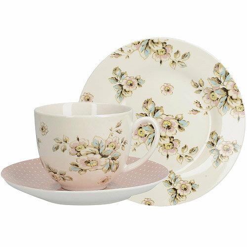 《CreativeTops》Katie瓷製餐盤+杯碟組(波斯菊150ml)