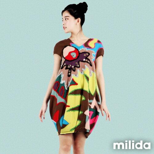 【Milida,全店七折免運】-夏季商品-拼貼款-毛線拼貼洋裝 0