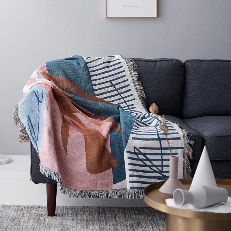 北歐沙發巾全蓋沙發蓋布沙發套罩ins風多功能線毯單人組合沙發笠♠極有家♠