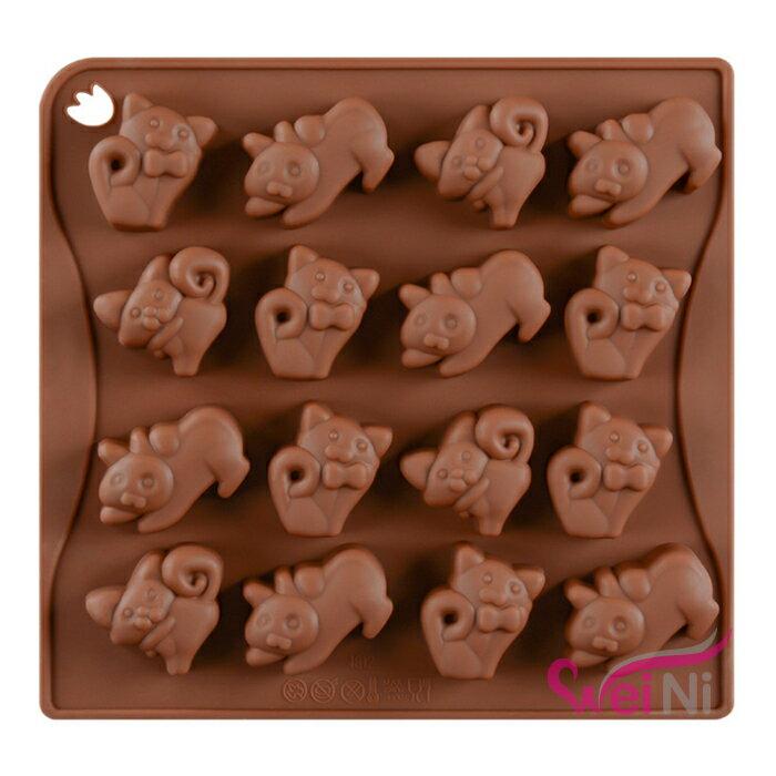 wei-ni 矽膠模 小貓造型 16連 蛋糕模 矽膠模具 巧克力模型 冰塊模型 餅乾模具 DIY
