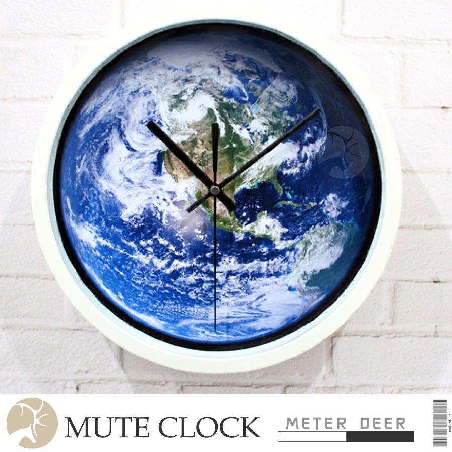 宇宙太空地球人造衛星雲圖造型時鐘 有框靜音掛鐘 現代商空店牆面設計科學男孩房品味裝飾擺飾世界地圖儀特色創意時鐘