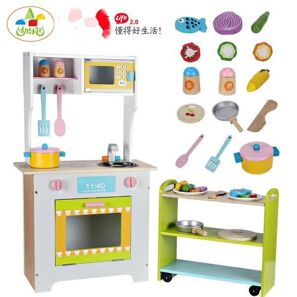 豪華木製廚房玩具組 兒童仿真廚房玩具 附微波爐和置物檯 新年禮物 交換禮物 生日禮物 【PT111】