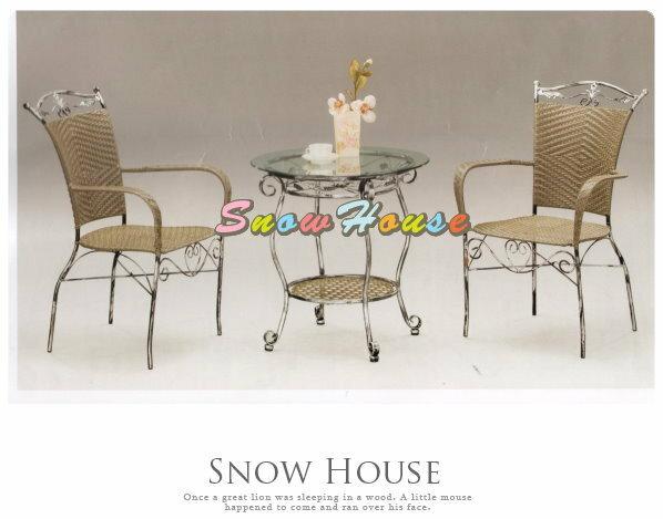 ╭☆雪之屋居家生活館☆╯R961-09/R959-05 @特惠組合@簡約大方鋼藤椅休閒桌椅組*一桌二椅-原價7500