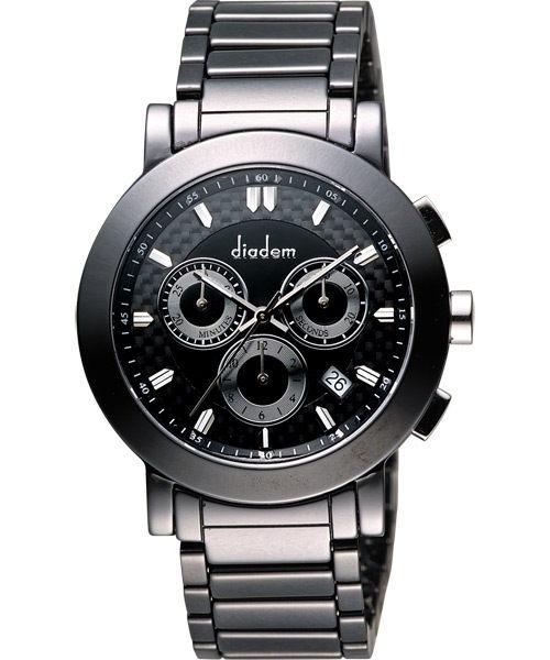 Diadem 黛亞登  8D1407-631D-D 都會時尚計時陶瓷腕錶/黑面41mm