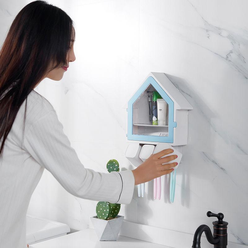 衛生間吸壁式牙刷架免打孔壁掛洗漱架漱口杯