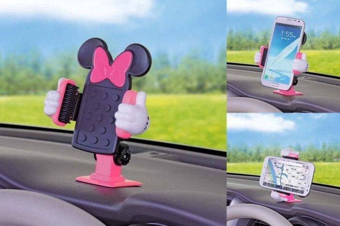 權世界@汽車用品 日本 NAPOLEX Disney 米妮 黏貼式 多爪軟質夾具大螢幕手機專用架 WN-27