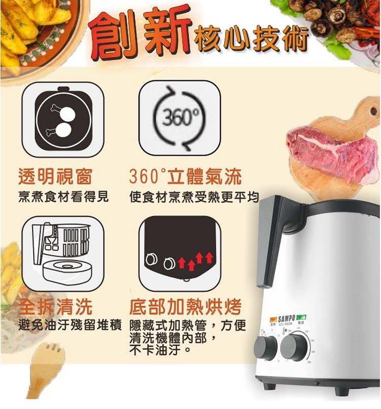 【SAMPO 聲寶】健康油切氣炸鍋KZ-L19303BL