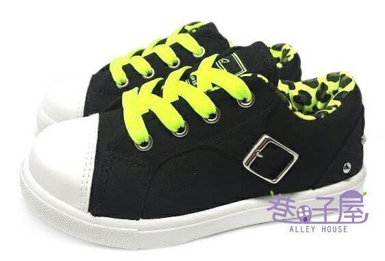 【巷子屋】SPEED史必得 童款彩色豹紋扣環拉鍊款帆布鞋 [6441] 黑綠 MIT台灣製造 超值價$198+免運