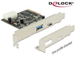 [富廉網] Delock PCI express擴充卡10G (USB 3.1 Gen 2) Type C™連接埠+(USB 3.1 Gen 2) Type A連接埠 - 89417