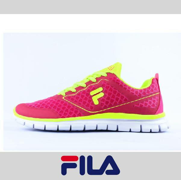 萬特戶外運動 FILA 5-J934P-299 女款運動慢跑鞋 輕量舒適 透氣 紅+螢黃色