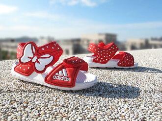 Shoestw【AF3918】ADIDAS 童鞋 涼鞋 小童 AKWAH 9 K 迪士尼 米妮 紅 蝴蝶結