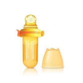 Kidsme - 咬咬樂咀嚼輔食器 擠壓式 圓孔 (橙黃) - 限時優惠好康折扣