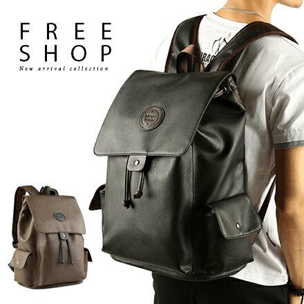 <br/><br/> Free Shop 韓版皮革拼接多功能大容量掀蓋磁扣雙肩包休閒旅行包後背包【QMDKE6077】<br/><br/>