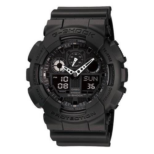 CASIO G-SHOCK GA-100-1A1質感黑雙顯流行腕錶/51mm