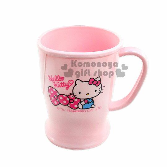 〔小禮堂〕Hello Kitty 單把手造型曲線塑膠杯《粉.坐姿.點點蝴蝶結.340ml》可當水杯或漱口杯