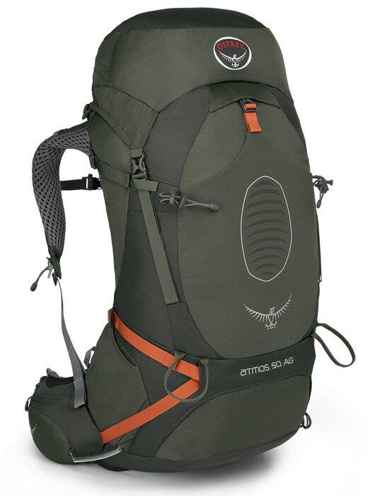【鄉野情戶外專業】 Osprey |美國| ATMOS AG 50 網架輕量登山背包 休閒 健行 登山 旅行背包-墨灰M Atmos50AG-AG