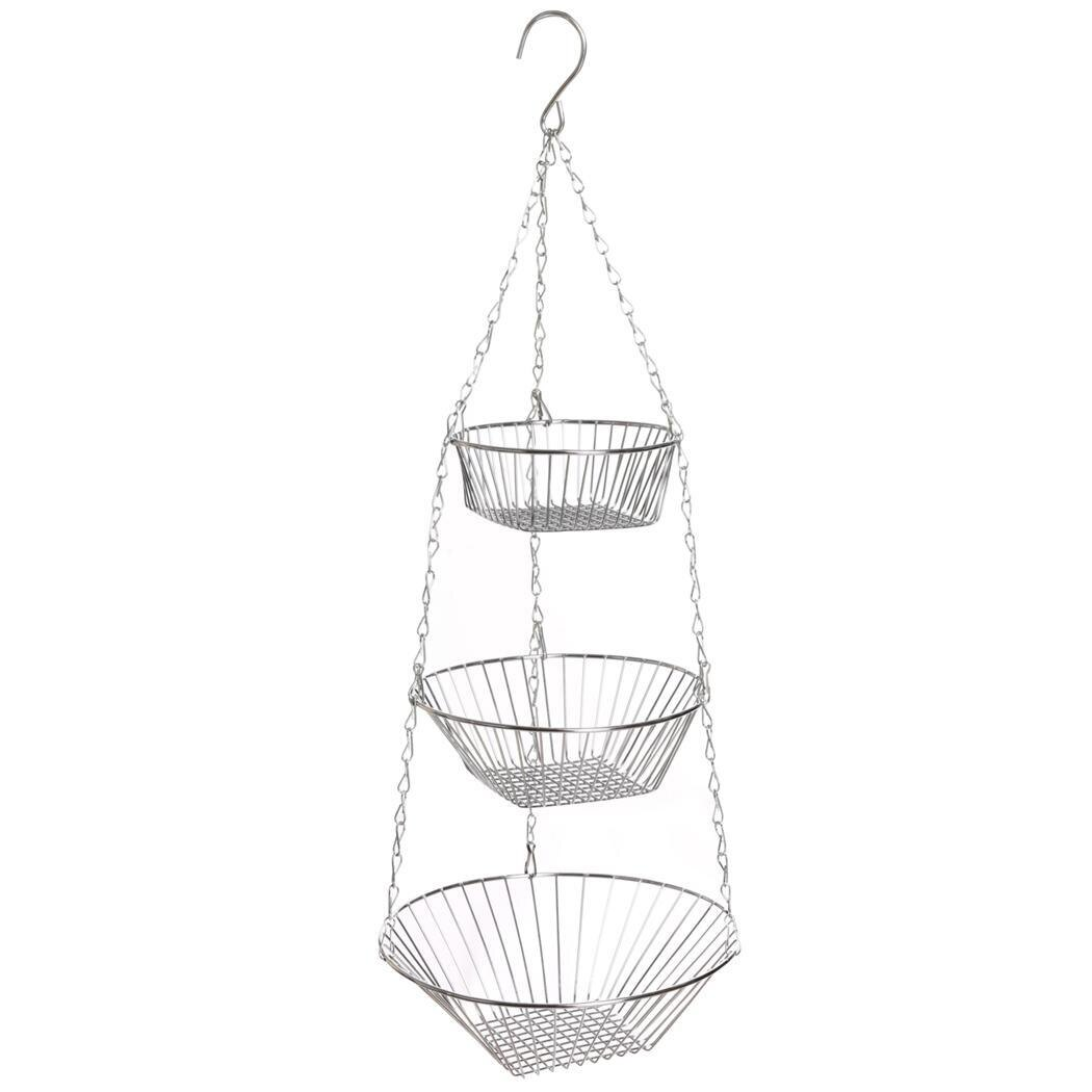 3-Tier Wire Hanging Chrome Fruit Flower Storage Basket 1
