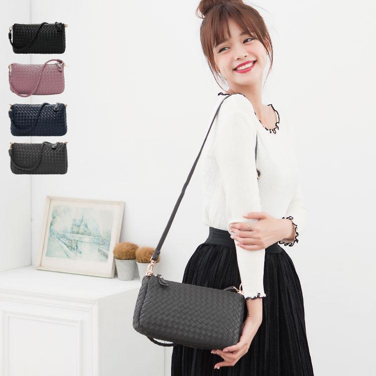 側背包 編織包 雙夾層兩用斜背包(附長帶) 女包  89.Alley ☀4色 3