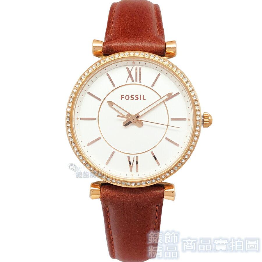 FOSSIL 手錶 ES4428 閃耀晶鑽玫瑰金 咖啡色皮帶女錶【錶飾精品】
