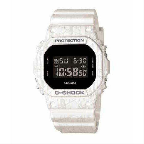 CASIO G-SHOCK DW-5600SL-7炫白爆裂紋流行腕錶/48.9*42.8mm