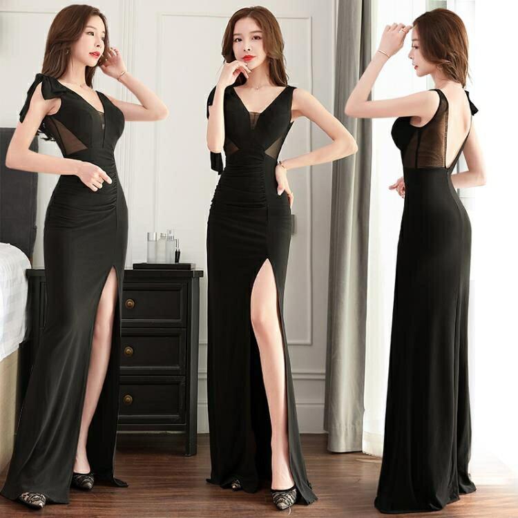 透視禮服 洋裝 公關女裝新款網紗透視性感長裙 包臀顯瘦夜總會氣質連身裙子晚禮服-麥田印象