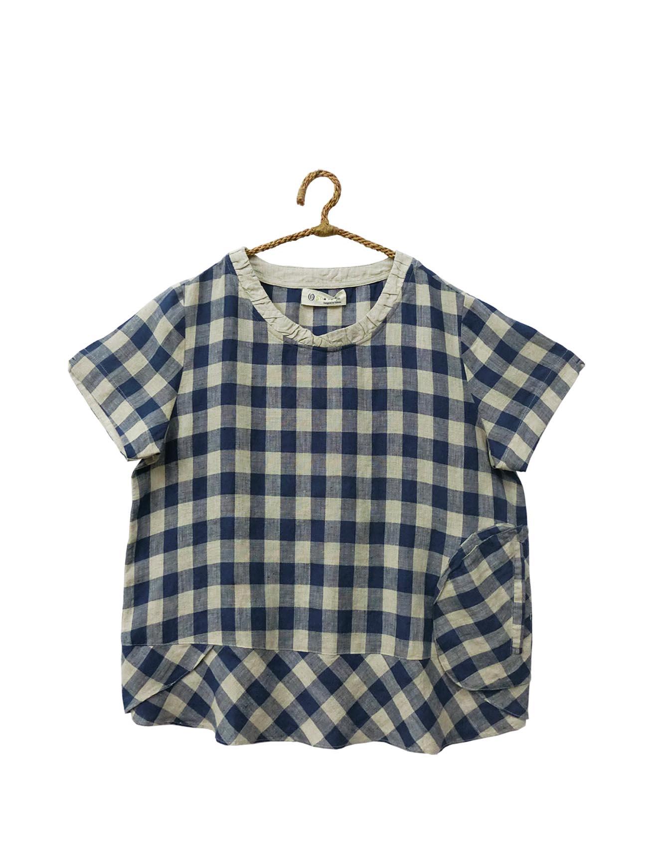 ❋ 蝴蝶zakka shop ❋不規則格紋拼接上衣(藍)