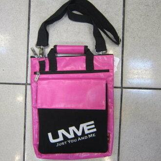 ~雪黛屋~UNME 側背包 可手提肩背斜背正版台灣製造品 防水夾網布可放A4資料平板#1132粉紅(大)