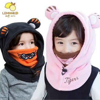WallFree窩自在★秋冬可愛老虎動物造型護頸套頭保暖兒童連帽