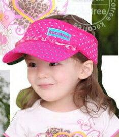 Kocotree◆時尚可愛蕾絲字母點點兒童遮陽帽空頂帽-玫紅