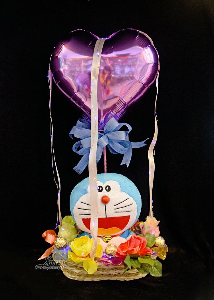 11吋哆啦A夢抱愛心幸福熱氣球,捧花 / 情人節金莎花束 / 熱氣球 / 畢業花束 / 亮燈花束 / 情人節禮物 / 婚禮佈置 / 生日禮物 / 派對慶生 / 告白 / 求婚,X射線【Y030017】 0